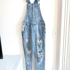 FashionNova Long Denim Overalls